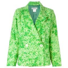 1990s Yves Saint Laurent Green Printed Blazer