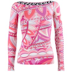 EMILIO PUCCI Resort 2012 Pink Op Art Signature Print Jersey Knit Low Back Top