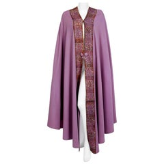 1915 Liberty Couture Lilac Wool & Colorful Lace Art-Nouveau Full Length Cape