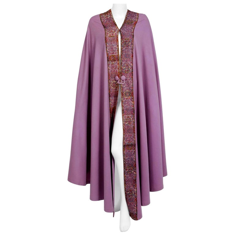 1915 Liberty Couture Lilac Wool & Colorful Lace Art-Nouveau Full Length Cape