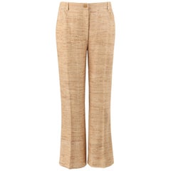 CHANEL Resort 2001 Natural Silk Tweed Boot Cut Trouser Pants