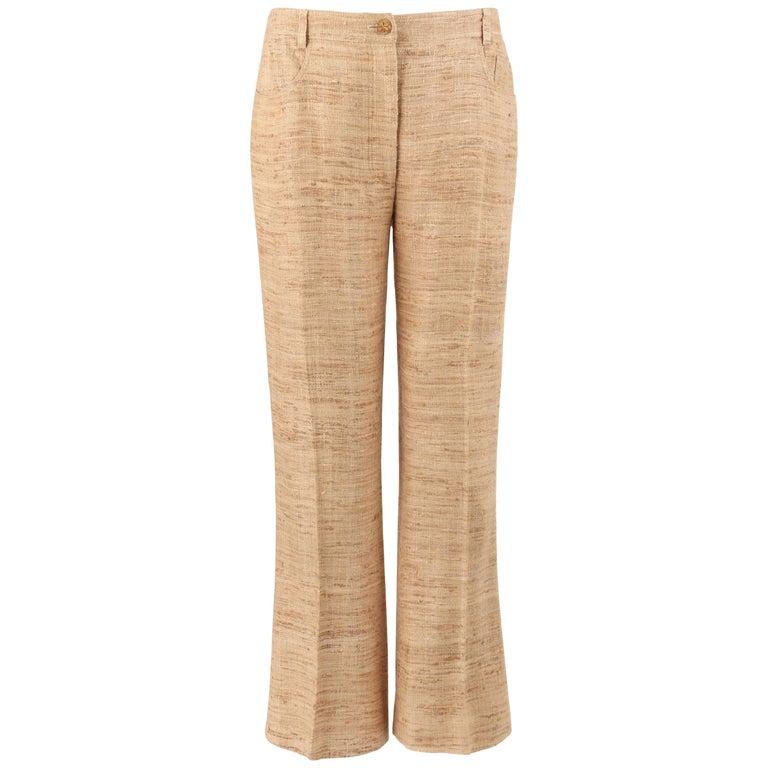 CHANEL Resort 2001 Natural Silk Tweed Boot Cut Trouser Pants