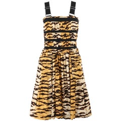 DOLCE & GABBANA Tiger Stripe Print Gathered Pleated Sleeveless Cocktail Dress