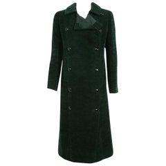 1969 Christian Dior Haute-Couture Dark Green Silk Corduroy Double-Breasted Coat