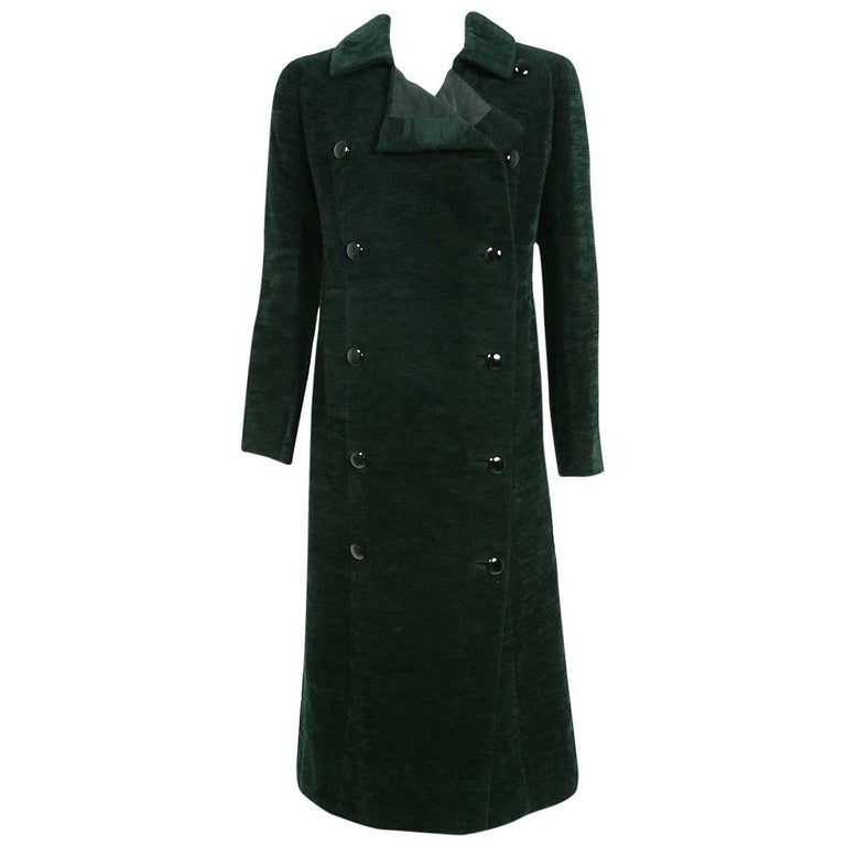 1969 Christian Dior Haute-Couture Dark Green Silk Corduroy Double-Breasted Coat