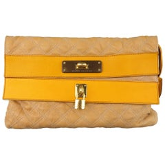 MARC JACOBS Beige & Gold Quilted Leather Lock Clutch Handbag