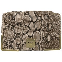 BALLY Gray Snakeskin Leather Gold Hardware Accordion Clutch