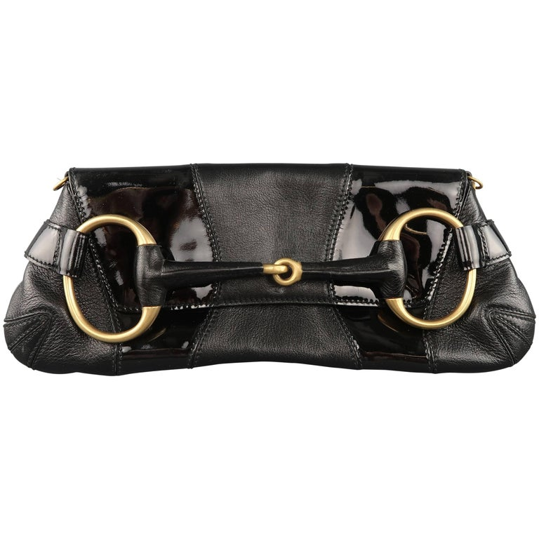 89a2865df6c9 GUCCI Black Patent Leather Panel Gold Horsebit Clutch Handbag For Sale