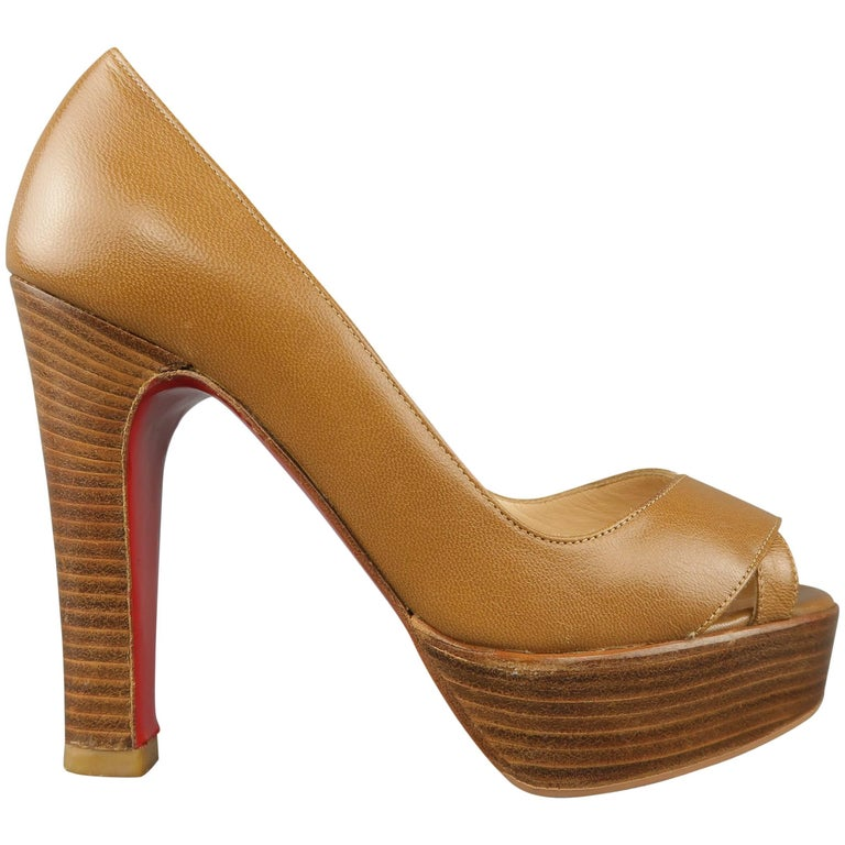 Christian Louboutin Tan Leather Peep Toe Stacked Platform Pumps