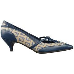 FENDI Size 5.5 Blue Leather Zucca Monogram Canvas Kitten Heel Pumps