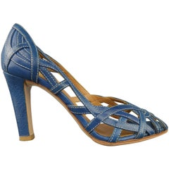 MIU MIU Size 5 Blue Woven Cutout Leather Peep Toe Pumps