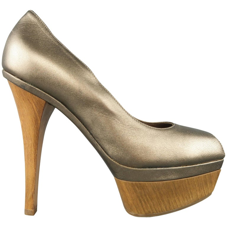 4a7126be6535 MARNI Size 6 Metallic Taupe Leather Peep Toe Wooden Platform Pumps For Sale
