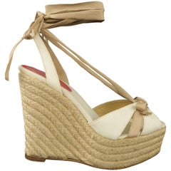 CHRISTIAN LOUBOUTIN 5.5 Cream & Beige Tied Ankle Strap Espadrille Wedge Sandals