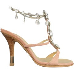 GIUSEPPE ZANOTTI Size 5 Pink Suede Jeweled Ankle T- Strap Sandals