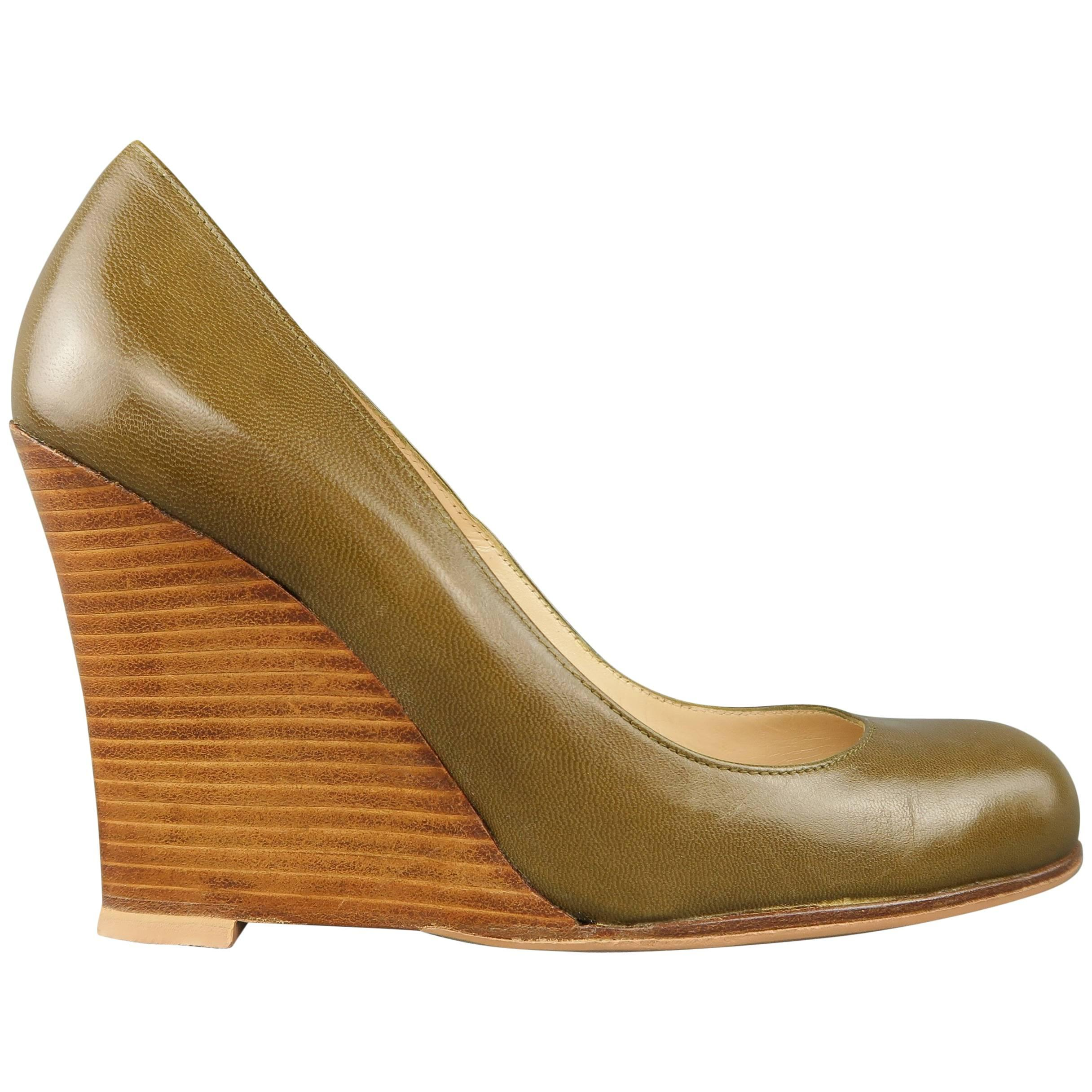 Christian Louboutin Olive Green Leather Stacked Wedge Pumps