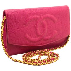 CHANEL Caviar Wallet On Chain WOC Hot Pink Shoulder Bag Crossbody