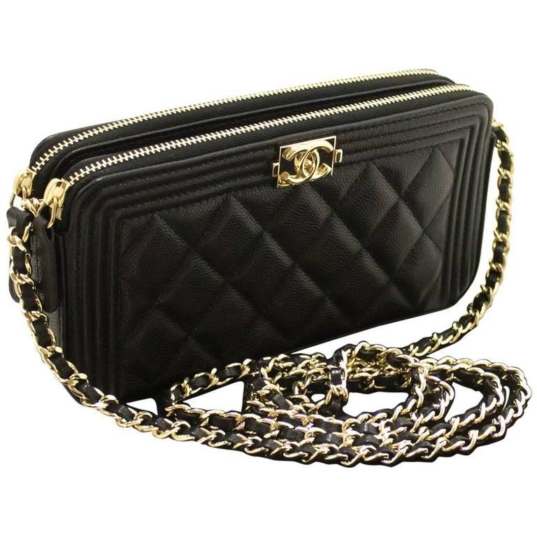 8a69df9717ae CHANEL Boy Black Caviar Wallet On Chain WOC Zipper Shoulder Bag For Sale