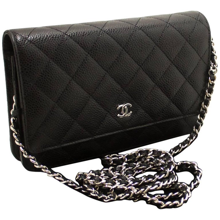 590c98433237f6 Never Used! CHANEL Caviar Wallet On Chain WOC Black Shoulder Bag For Sale
