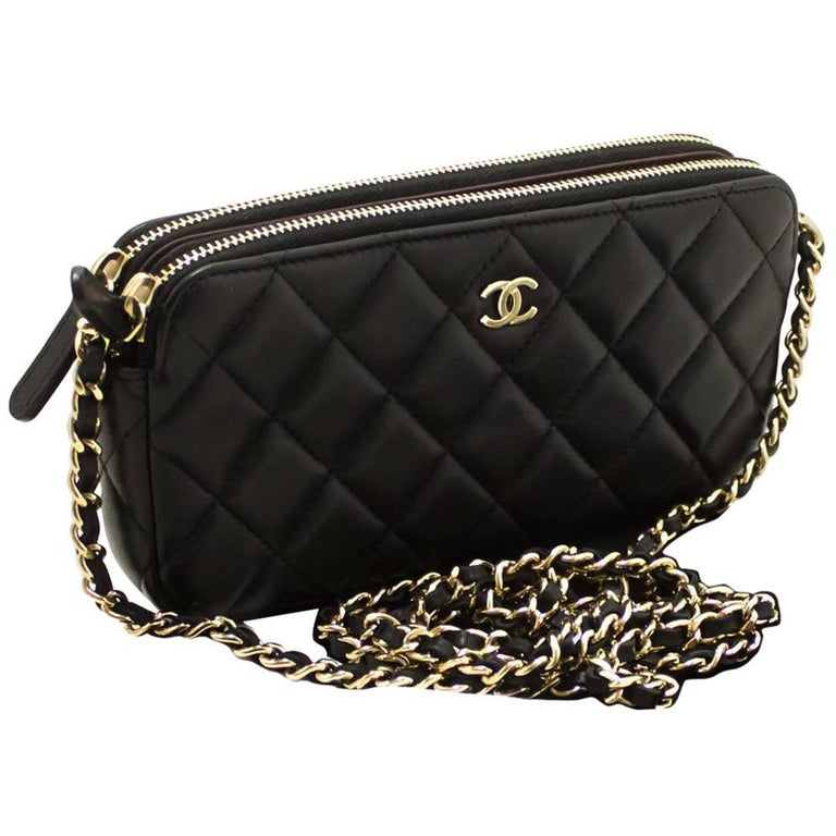 d349f12f2f65 CHANEL Lambskin Wallet On Chain WOC Double Zip Chain Shoulder Bag For Sale
