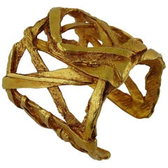Christian Lacroix Vintage Gold Toned Criss Cross Design Cuff Bracelet