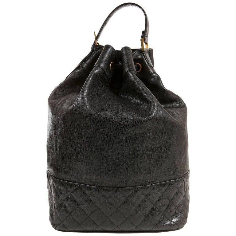 Chanel Black Caviar Leather Vintage XL Backpack