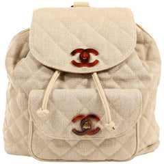 Chanel Beige Linen Quilted Backpack