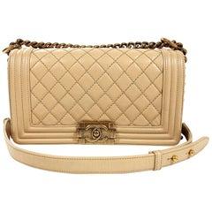 Chanel Beige Leather Medium Boy Bag- Limited Edition