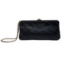 Chanel Black Satin Clutch Wristlet