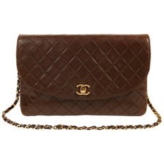 Chanel Brown Leather Medium Flap Bag