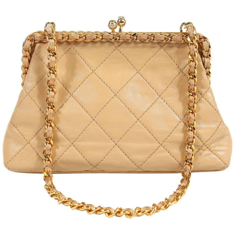 Chanel Beige Leather Kiss Lock Bag