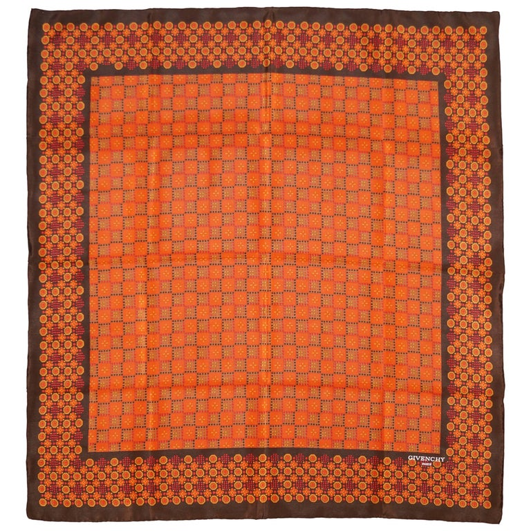 Givenchy Floral and Geometric Silk Scarf in Amber Tones, 1970s  For Sale