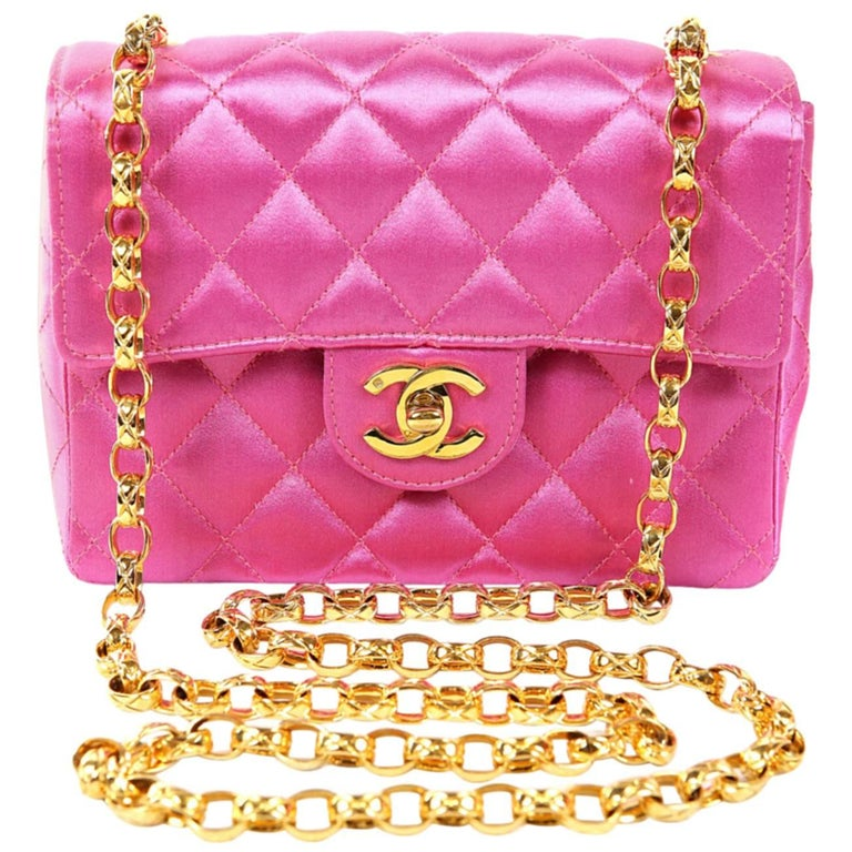 Chanel Fuchsia Satin Mini Classic Flap Bag