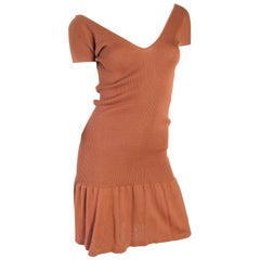 Angleo Tarlazzi Knit Stretch Deep V- Neck Dress