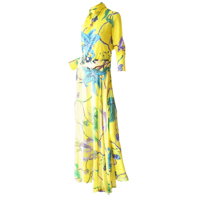 La Mendola Printed Gown with Over Skirt and Sequin Belt