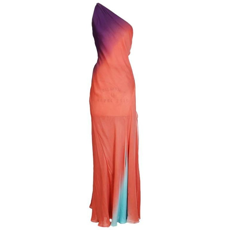 Versace Coral Silk One Shoulder Gown with Low Open Back, circa 1990s For Sale