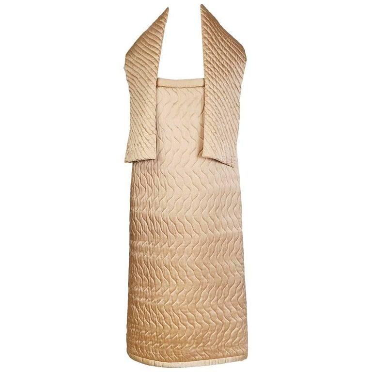 Fendi Vintage Quilted Dress in Champagne Silk Satin circa 1980s