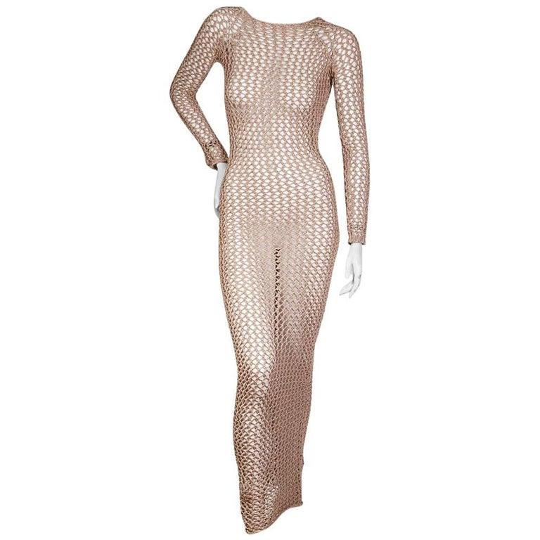 Balmain Beige Crochet Maxi Dress, contemporary