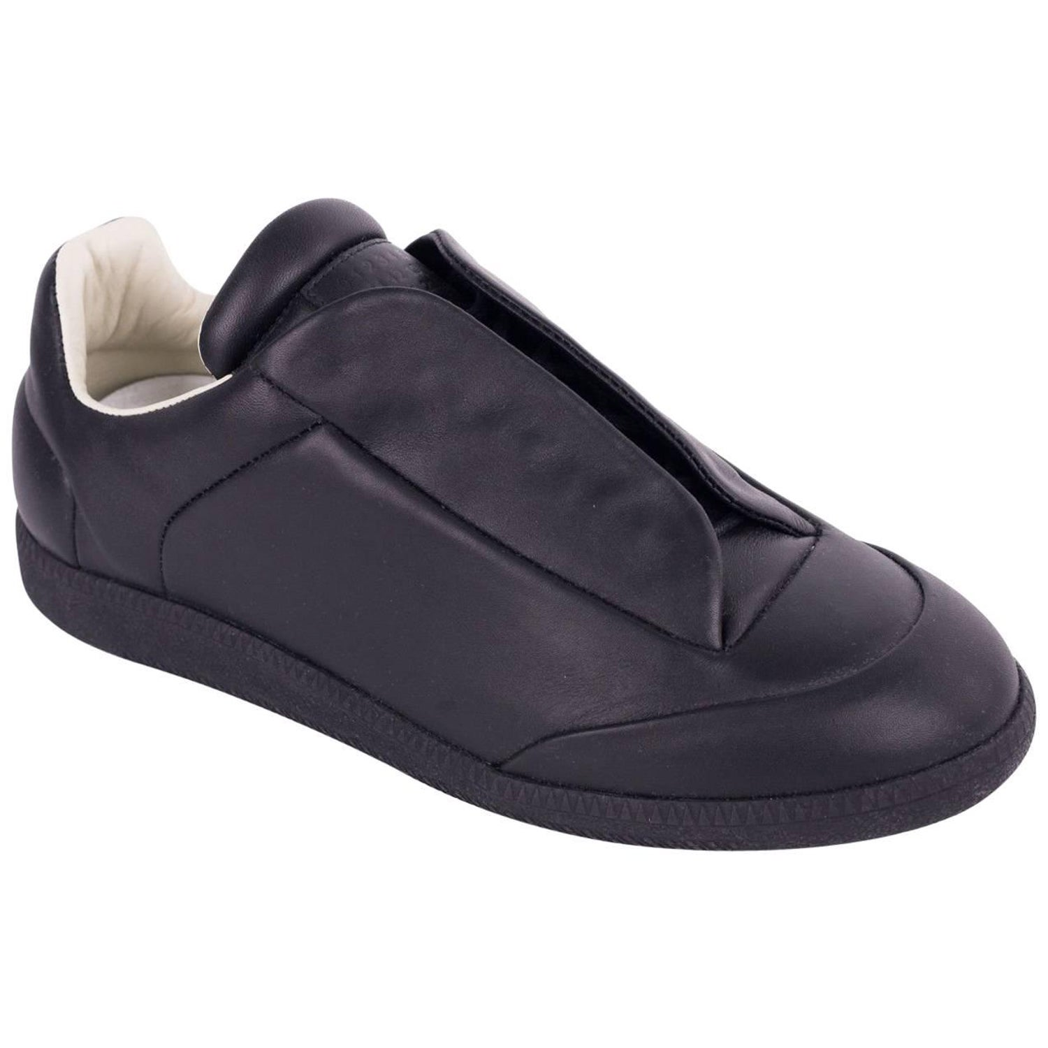7bd55d69301 Maison Margiela Mens Black Leather Future Low Top Sneakers For Sale at  1stdibs