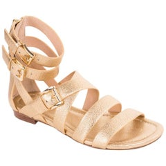 Michael Kors Womens Gold Grained Leather Gladiator Sandal