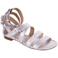 Michael Kors Womens Silver Grained Leather Gladiator Sandal