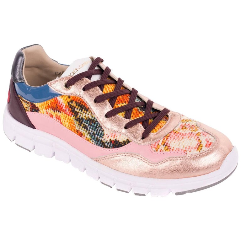 Dolce & Gabbana Multicolored Fabric Metallic Insert Sneakers