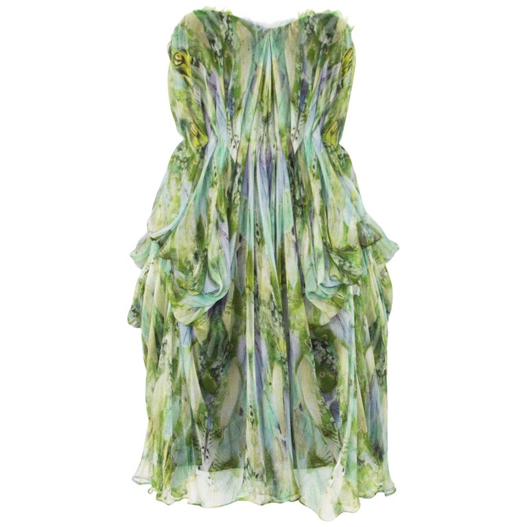 "Alexander McQueen ""Praying Mantis"" Silk Bustier Dress, S / S 2010 It. 38"