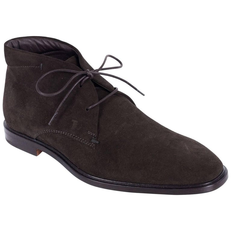 Tod's Mens Brown Suede Lace Up Short Ankle Boots