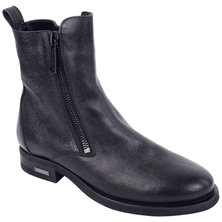 DSquared2 Men's Faded Black Leather Zip Up Chelsea Boots