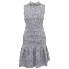 Erdem Grey Striped Floral Textured Sleeveless Nena Dress with Rhinestone Neck
