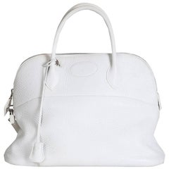 Hermes White Leather Bolide Tote, 2003
