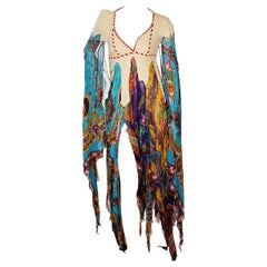 Sant' Angelo Suede and Paisley Scarf Dress circa 1960s 1970s