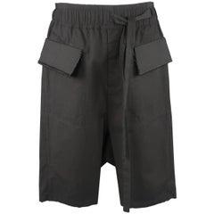 Men's DAMIR DOMA Size S Black Cotton Flap Pocket Tied Drop Crotch Shorts