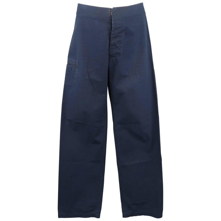 Men's MAISON MARTIN MARGIELA Size 30 Navy Solid Cotton Wide Leg Stitches Pants
