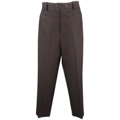 Jean Paul Gaultier Men's Brown Striped Wool High Rise Pants